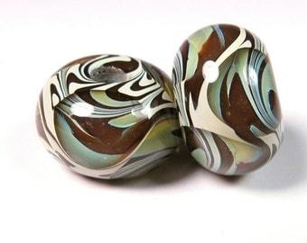 Lampwork Boro Beads, Lampwork Glass Beads, BBGLASSART, Glass Bead Pair, Chocolate Swirl Prisms