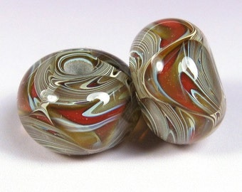Lampwork Boro Beads, Lampwork Glass bead pair, BBGLASSART - Red, Tan, Sedona Prisms