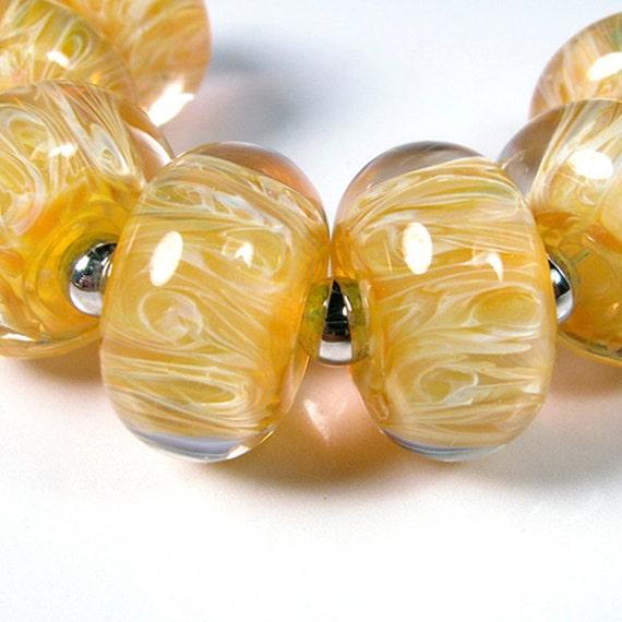 Lampwork Boro Beads - bbglassart - Honeysuckle - Artisan Glass Beads