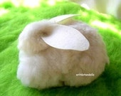Wool bunny made of natural merino wool and wool felt