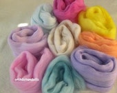 3.85 hand painted hand dyed merino wool 9 unique ecologic colors for needle felting fairies and soft sculpture