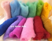 5.95ozCarded wool from the Alps colored with ecologic colors for needle felting and wet felting in flat pieces 12 colors