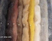 3.85z mix package of coarse wool in 9 shades of animals and hair colors proper for wet feltinf and needle felt.
