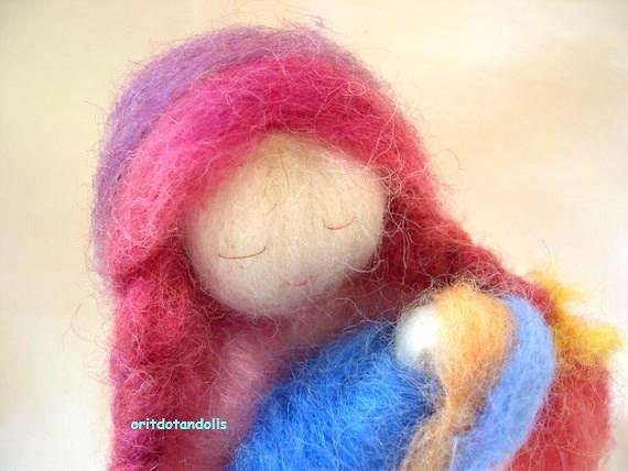 Mother and child needle felted soft sculpture art doll, Waldorf education standing doll