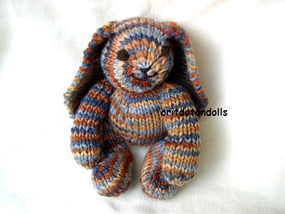 Hand knitted bunny of natural materials, 12inch/30cm