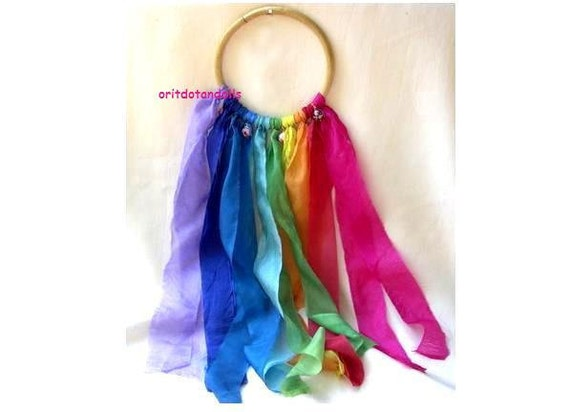 Silkplay strips 10 colors with Jingle bells on a bamboo circle for adults and children dance and play