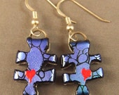 Dichroic Glass Puzzle Piece Earrings for Autism, Aspergers, PDD, ASD Awareness