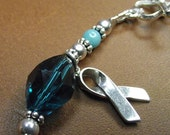 Ovarian Cancer Awareness Bracelet with Vintage Faceted Glass and Dyed Jade