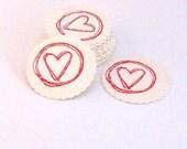 Scalloped Envelope Seals Stickers Valentine Hearts Set of 20