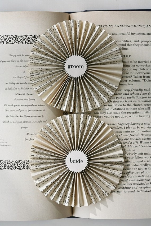 bride and groom . paper badges