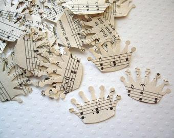 Vintage Sheet Music Paper Crowns - Party Decor Wedding Favor confetti