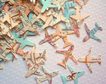 Airplanes Confetti Atlas Vintage - Vintage wedding favor wedding decoration