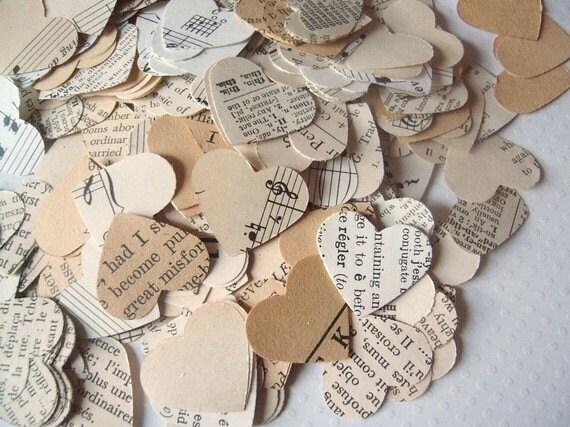 Vintage Wedding Confetti Hearts