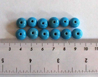12 x Turquoise Blue Lampwork Spacer Beads