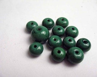 12 x Assorted Mosaic Green Lampwork Glass Spacer Beads  SRA