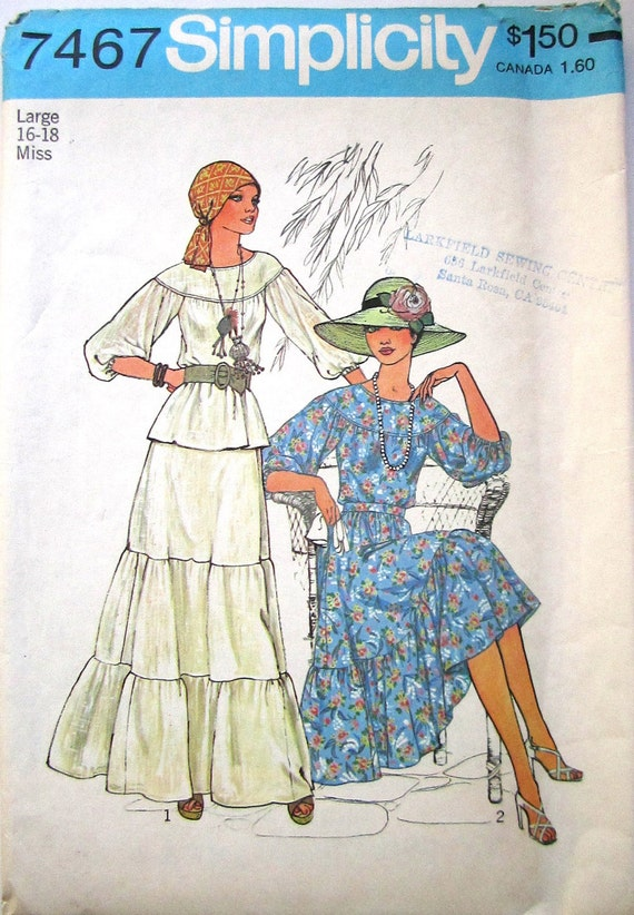 Peasant Indie Gypsy Mexican Tunic Top and Maxi Tiered Skirt // Simplicity Pattern 7467 //  Size 16 18