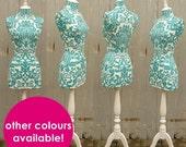 Display Mannequin Vibrant Turquoise Damask Display Dressform - Sophie T