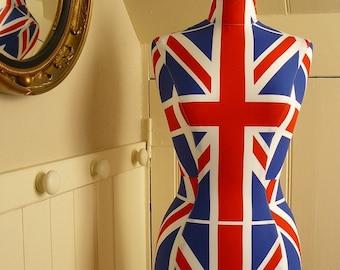 Vintage Style Corset Laced Mannequin UNION JACK Dressform Femail