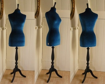 Female Mannequin Full Sized Display Velvet TEAL Dressform
