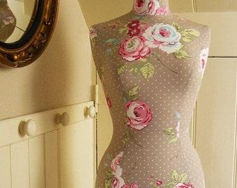 Vintage Style Home Decor Mannequin Female  Dressform Bust Floral Print - Amelia