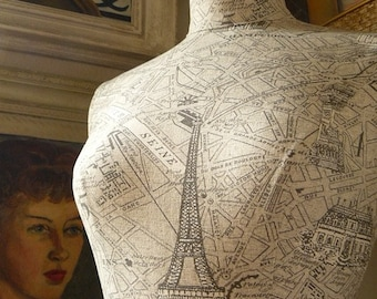 Home Decor Mannequin French Vintage Print Paris Map Display Dressform Bust - Parisienne
