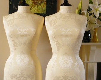Home Decor Display Elegant Damask Corset Laced Dress Form Bust - Celia in Ivory