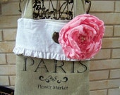 French Burlap Market Tote with Rose Pin