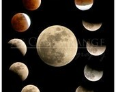 Moon Lunar Eclipse Multiple Exposure Collage-8x10 print, photo, teachers