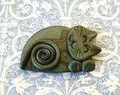 Polymer Clay dark green Cat Brooch or Magnet or Pendant