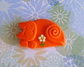 Orange Kitten with Daisy Brooch Pin or Magnet - Fimo Polymer Clay