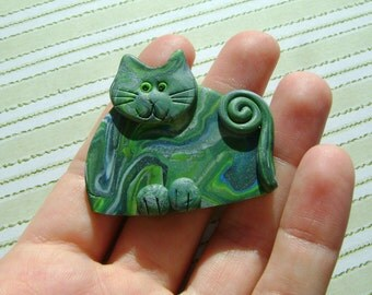 Fimo Polymer Clay Green Cat Brooch Pin or Magnet