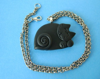 Fimo Polymer Clay Black Cat Necklace