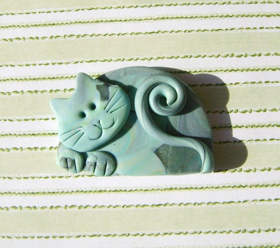 Fimo Polymer Clay Grey Pastels Cat Brooch Pin or Magnet