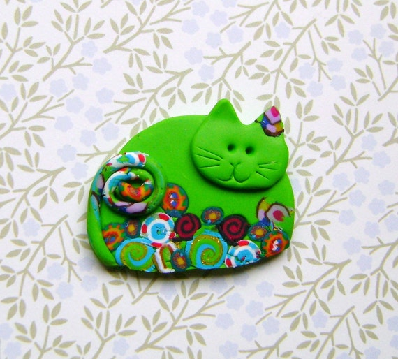 Polymer Clay Green Cat with Flowers pin brooch or magnet