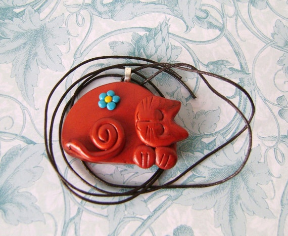 Polymer Clay Copper Cat Pendant Necklace