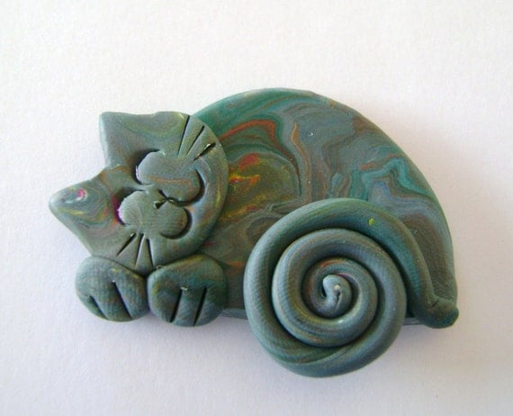 sleeping Cat in Marbled greys Brooch Pin or Magnet - Polymer Clay