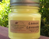 LEMON LAVENDER SOY Candle - Highly Scented - Fresh and Clean Scent