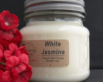 WHITE JASMINE SOY Candle - Highly Scented - Floral