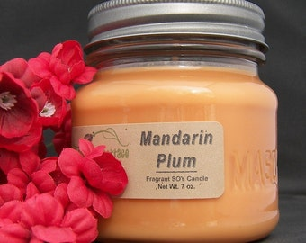 MANDARIN PLUM SOY Candle - Highly Scented