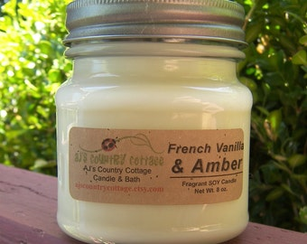 FRENCH VANILLA AMBER SoY Candle - Highly Scented
