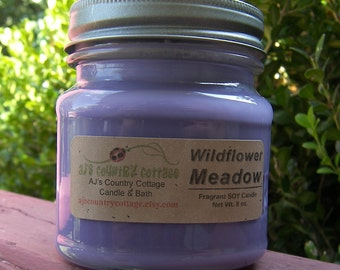 WILDFLOWER MEADOW SOY Candle - Highly Scented - Floral Flowers