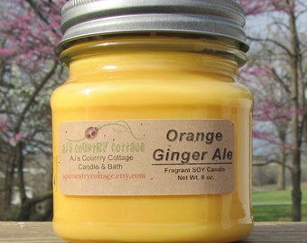 ORANGE GINGER ALE Soy Candle - Scented Candles, Citrus Candles