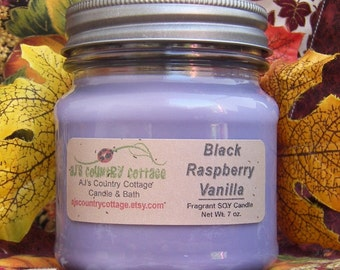 BLACK RASPBERRY VANILLA SoY Candle - Highly Scented