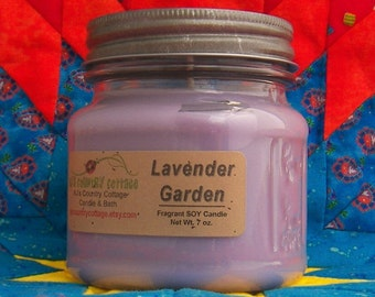 LAVENDER GARDEN SOY Candle - Highly Scented - Herbal Flowers