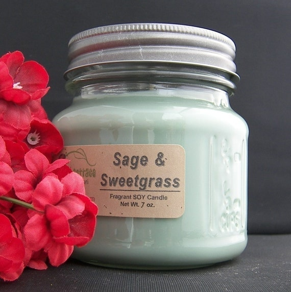 sweetgrass sage soy candle highly scented by ajscountrycottage