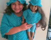 Poncho, Hat, Poncho and Hat Set, Crochet,Teal, Poncho and Hat Set Daughter and Doll