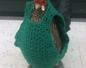 Chicken sweaters, chickens, hens, sweaters, crochet, green, chicken clothing