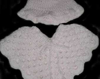 Babies, Baby Clothing, Poncho, Hat, Infants, Pink, Crochet