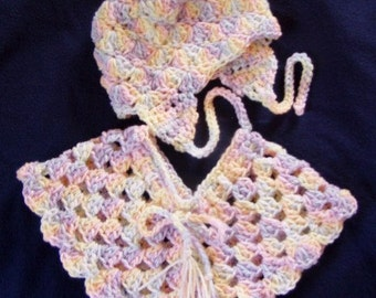 Pretty in Pastel Baby Poncho and Hat Set