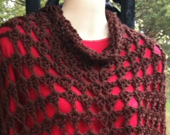 Poncho, Ponchos, Crochet, Chocolate, Short Version, Women, Girls, Fashions
